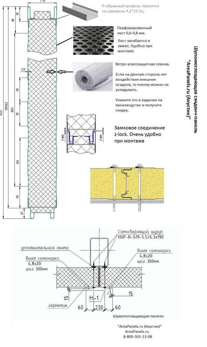 Шумопоглощающая сэндвич-панель AreaPanels,ru (Акустик). Панель удобна в монтаже благодаря замку Z-lockю К колоннам панель крепиться напрямую саморезами для сэндвич-панелей.